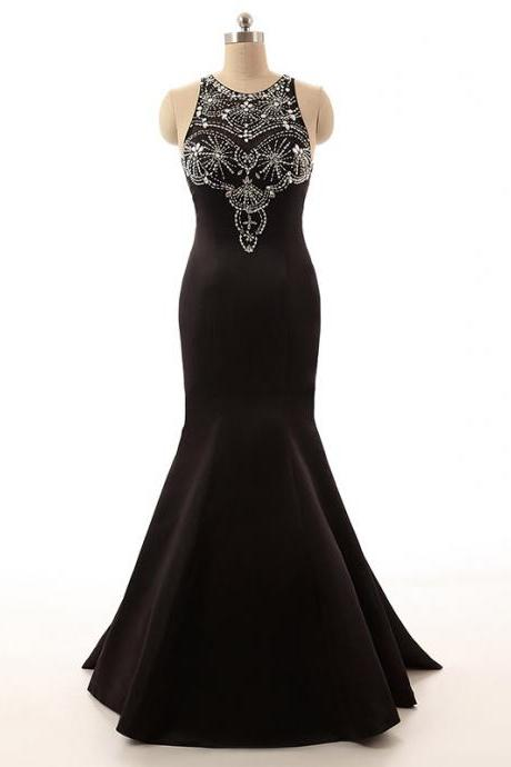 Black Crystals Mermaid Prom Dresses Long Satin Evening Gown Beaded