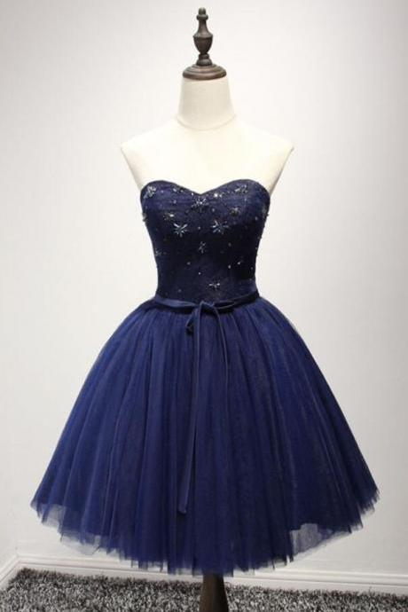 2018 Strapless Navy Blue Tulle A Line Homecoming Dress,Short Party Dress,Cocktail Dress