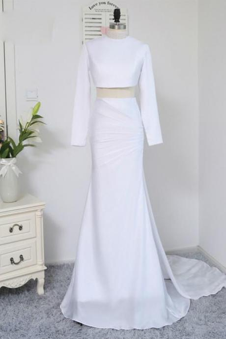 Formal Celebrity Dresses Mermaid Two Pieces White Sexy Long Sleeves Backless