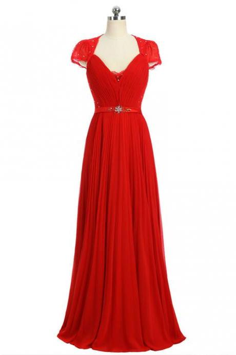 Red 2017 A-line Cap Sleeves V-neck Floor Length Formal Celebrity Dresses