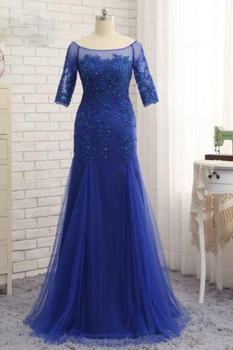 Royal Blue 2017 Mother Of The Bride Dresses Mermaid Half Sleeves