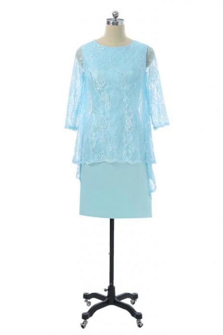 Sheath Knee Length With Jacket Chiffon Lace Groom Short Mother Dresses