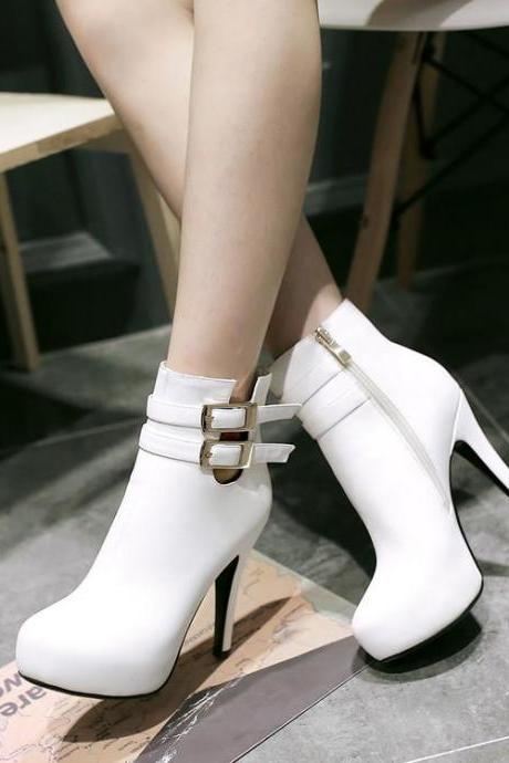 Women's Pure Color Pointed Toe Ankle Boots