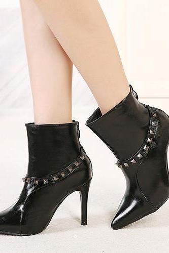 Patent Leather Pointed-Toe High Heel Ankle Boots Featuring Rivet Embellishments
