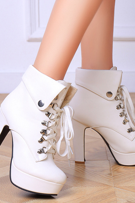 Fashion Women PU Leather High Heel Booties Lace Up Platform Heeled Ankle Boots Black White Beige