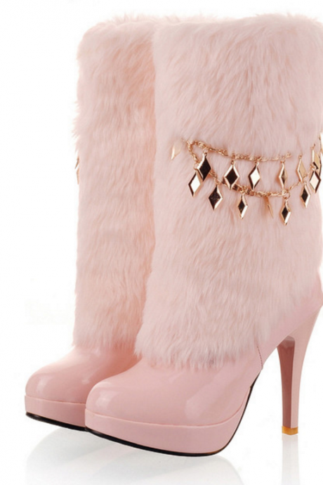 Noble Smile Face Chain Embellished Fur High Heel Boots Apricot