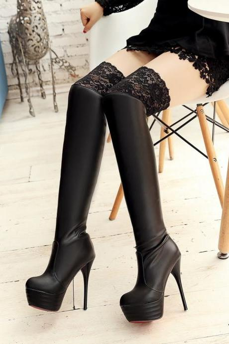 Knee Boots High Heels Sexy Tall Female Boots Black Thigh High Boots