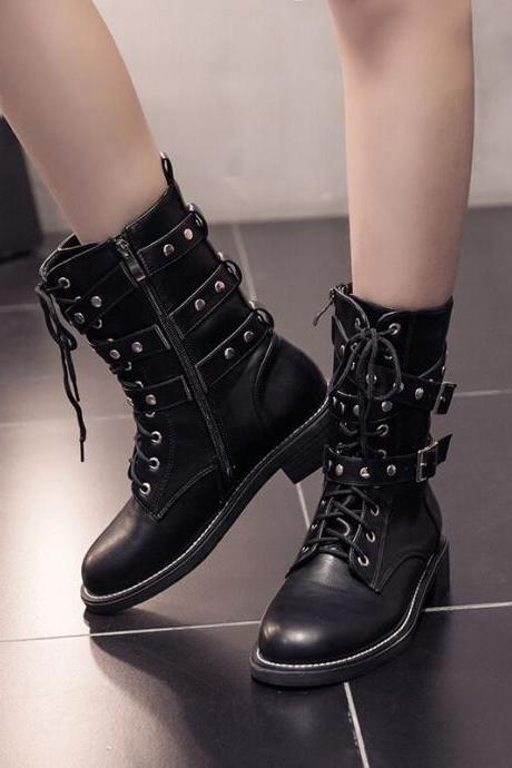 Women's Pure Color Low Heel Square Heel With Side Zippers Shoelace Rivet Martin Boots