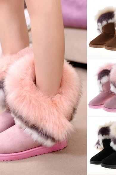 Women's Autumn Winter Snow Boots Ankle Boots Warm Synthetic Fur Shoes 3 Colors
