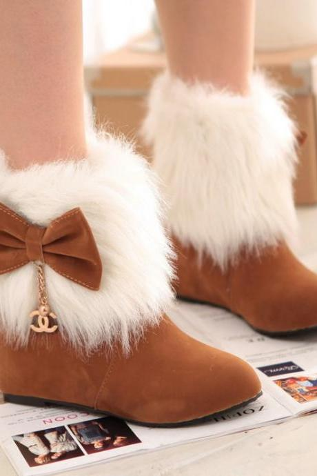 Sweet Fur Lapel Bowknot Increased Short Boots