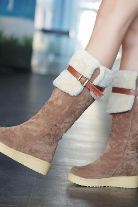 Buckle Design Slip On Low Heel Brown Warm Winter Boots