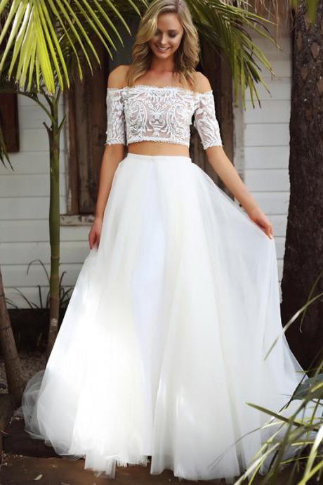 Mermaid Wedding Dresses with Detachable skirts,Boat Neck Half Sleeve Elegant New Fashion Bridal Gowns