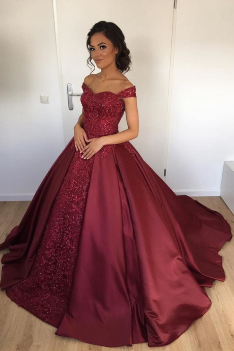 Off the Shoulder Burgundy Ball Gown Bridal Dresses,Shinning Satin Wedding Dresses