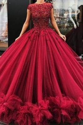 Gorgeous burgundy prom dress, round neck long prom dress, beading tulle evening dress