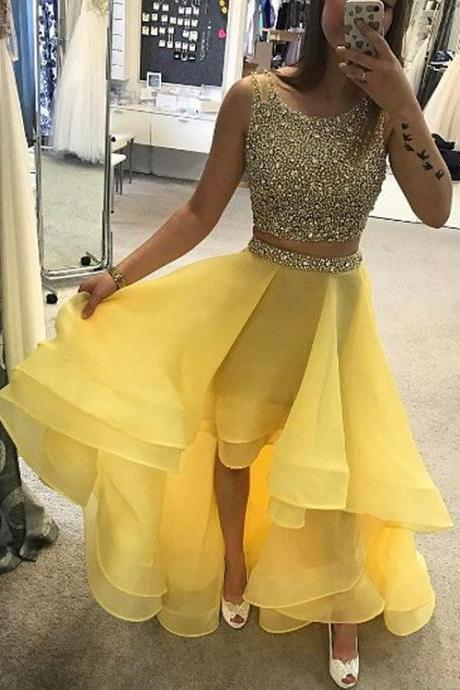 2018 New Arrival Two Pieces Beading Sequined Prom Dress,High Low Prom Dress