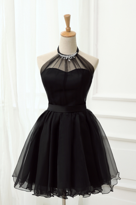 Cute Little Black Short Dresses, Homecoming Dresses, Halter Short Prom Dresses