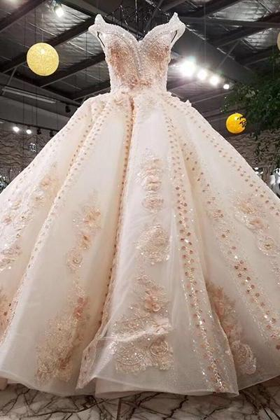 Luxury wedding dress beading ball gown off the shoulder lace up flowers bridal gowns
