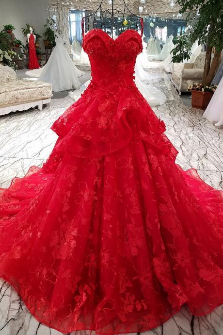 lace flowers luxury generous spaghetti strap red evening dress