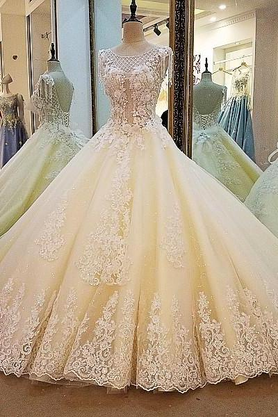 champagne wedding dress ball gown coset back beading lace bridal gowns