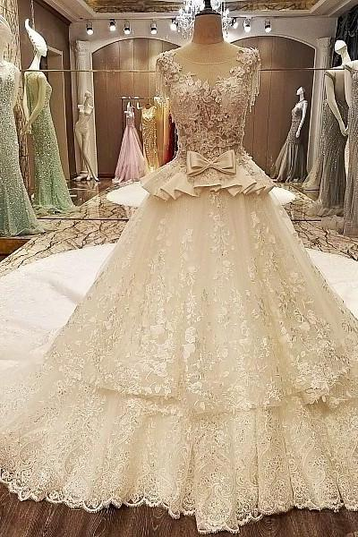 wedding dress ball gown cap beading sleeves corset back ivory and champagne