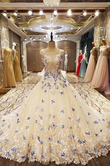 2017 A line elegant party evening dresses long 2017 with butterfly lace real photos