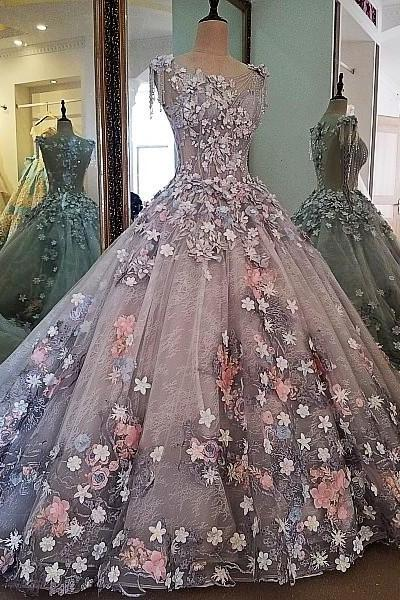 2017 real photos evening dress lace 3D flowers ball gown long party formal dress organza