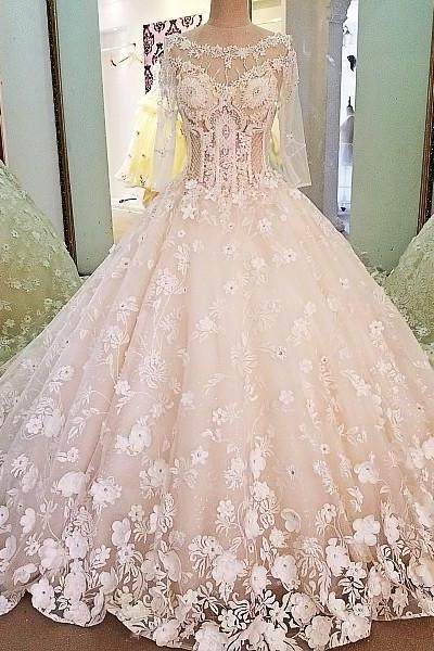 Luxury bridal gown with sleeves beading 3D flowers ball gown lace wedding dress
