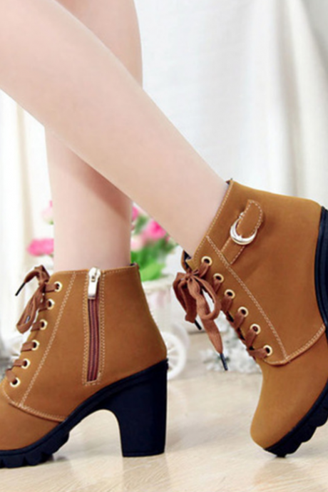 2017 Fashion Women Brown Lace Up High Heel Martin Boots Ankle Booties