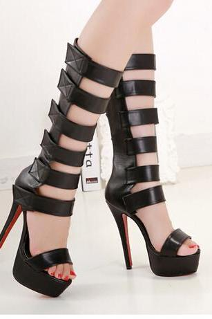 Strappy Black Peep Toe High Heel Gladiator Sandals