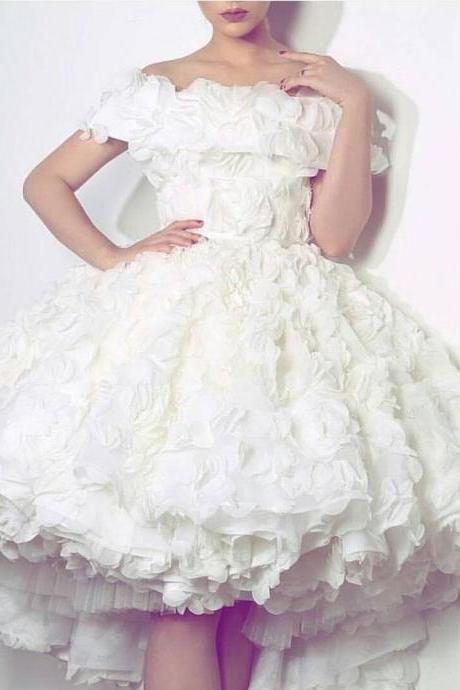 White Flower Off The Shoulder Short Prom Party Dress