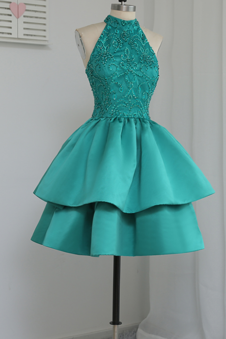 A-line halter green homecoming dresses