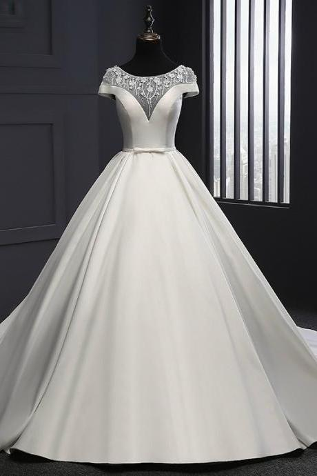 2017 New Wedding Dress Real Photo Scoop Neck Satin Wedding Dresses