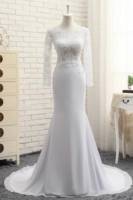 Mermaid Wedding Dresses Long Sleeve High Quality Sexy Scoop Neck