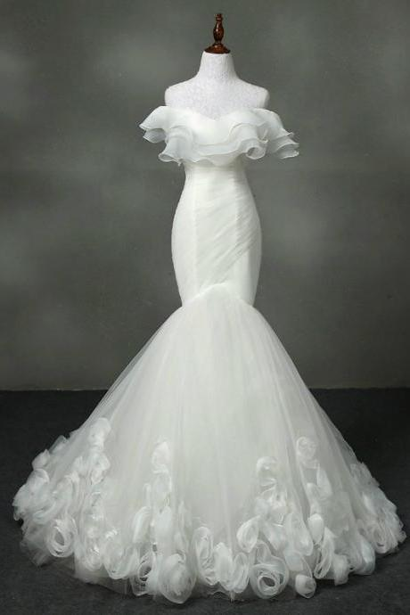 Strapless Ruffled Ruched Mermaid Wedding Dress Featuring Lace-Up Back