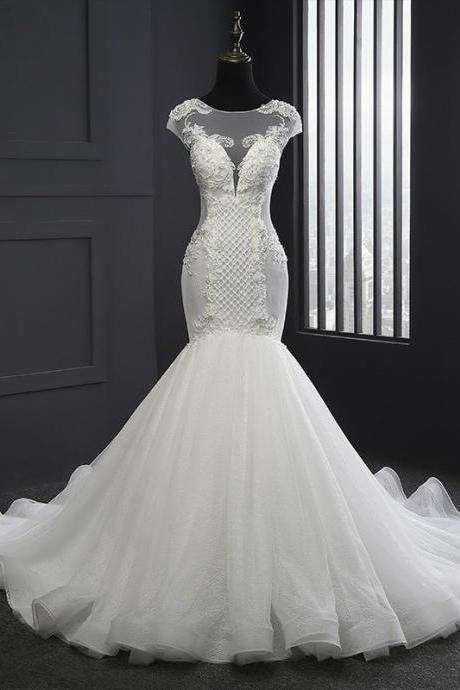 2017 New Style Scoop Neck Wedding Dresses Mermaid Lace-up Lace Appliques Wedding Dress