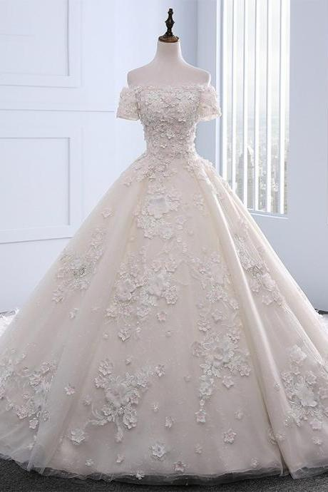 Off-the-Shoulders Floral Beading Princess Wedding Ball Gown Featuring Lace-Up Back and Cathedral Train