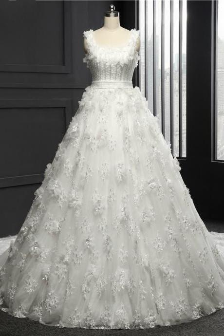 Square Wedding Dress Chapel Train Tulle With Lace Appliques Ball Gown