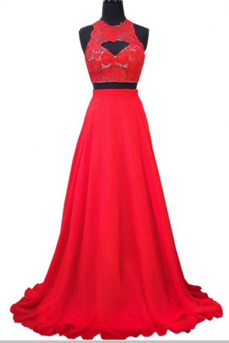 The PROM dress is an elegant lace lace African red chiffon dress with two ball gowns