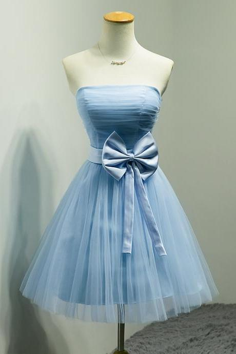 Blue Mini Short Prom Dress Cocktail Dress, A-line Strapless Party Dress Prom Dresses, Short Bridesmaid Dress