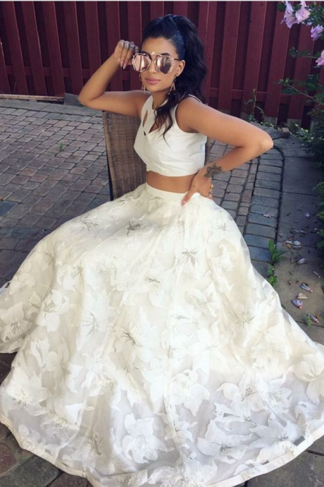 Fashion 2 pieces prom party dresses, cute white formal gowns,chic key hole fashion gowns with special lace