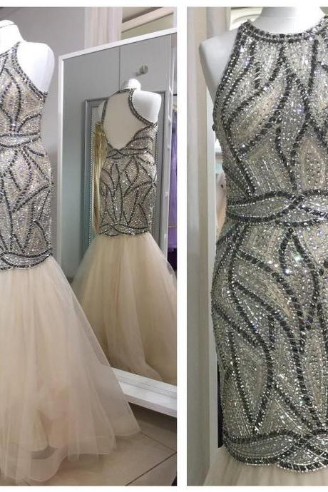 crystal beaded tulle champagne mermaid prom dresses evening gowns