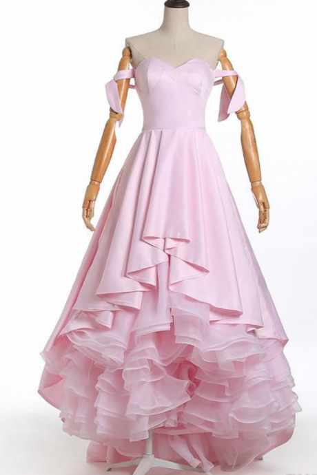 Pink Evening Dress Pink Ruffles Sexy Bridal Dress Prom Party Dress