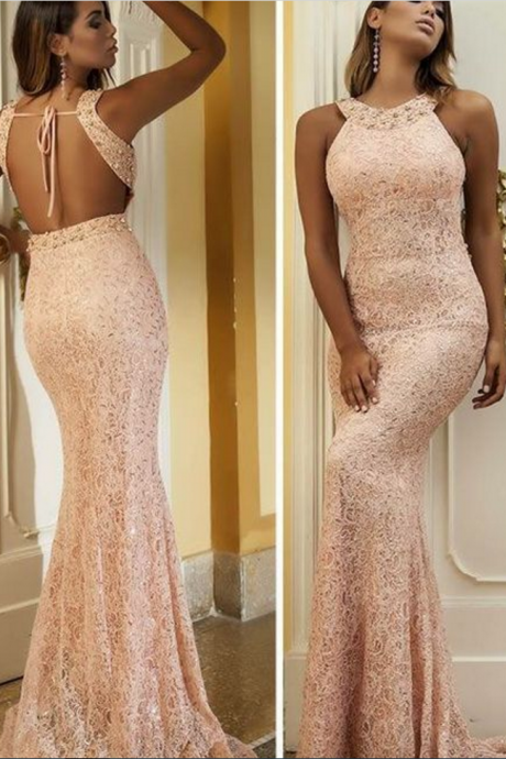 Mermaid Long Evening Dress, Rose Pink Lace Formal Party Dress