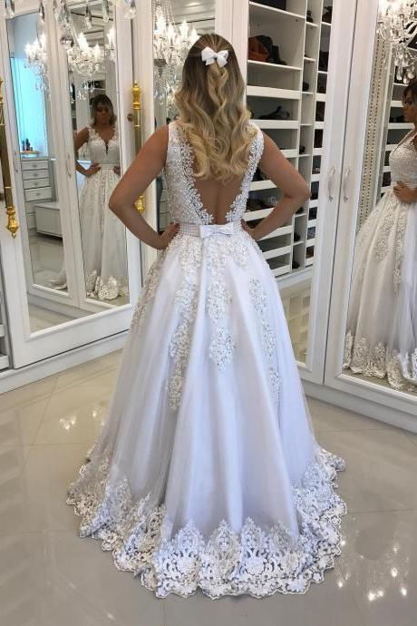 A Line Wedding Dress, White Bridal Dresses, V Neck Wedding Dress, Lace Wedding Dress