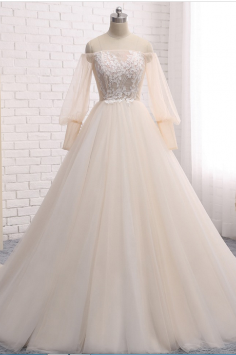 Off-the-Shoulder Sheer Long Sleeved Princess Ball Wedding Gown with Lace Appliqués, Lace-Up Back and Court Train