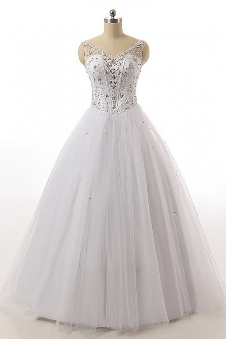 A Line Wedding Dresses Beaded Lace Princess Tulle Bridal Gowns White/Ivory Custom