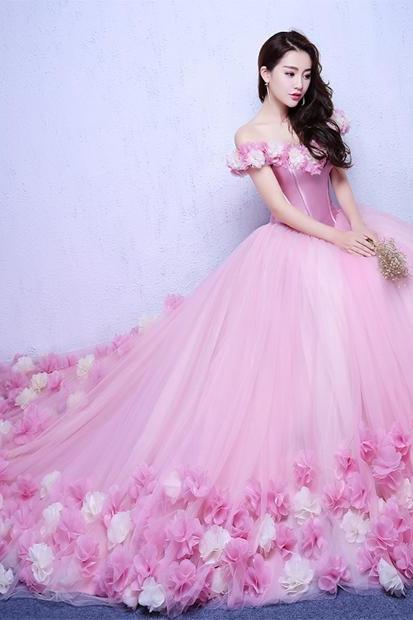 Pink Wedding Dresses Off the Shoulder Court train Bridal Wedding Dress with Flowers