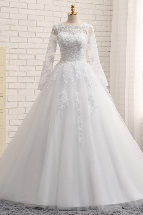 A-Line Wedding Dresses Jewel Chapel Train Long SleeveTop Applique Sequined Tulle White or Ivory Bridal Gowns