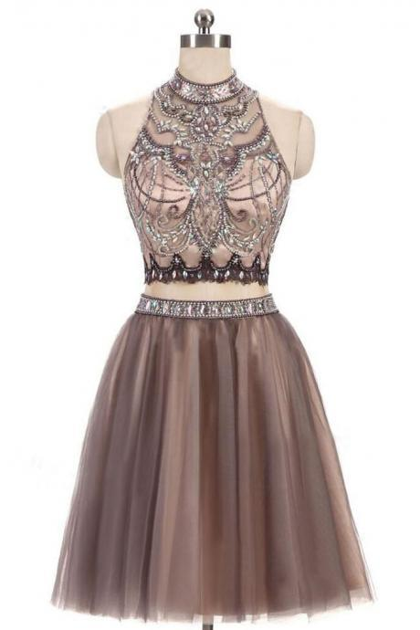 Two Piece Prom Dress,Junior Homecoming Dresses,Tulle Prom Dress,Open Back Homecoming Dresses