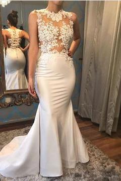 Elegant White Satin Mermaid Wedding Dresses Lace Appliques